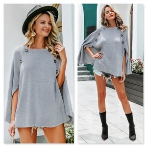 Grey Buttoned Cloak Sleeve Knit Poncho